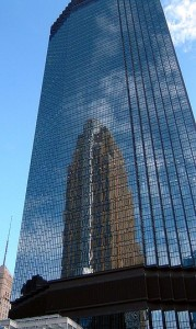 IDS Center reflects Wells Fargo Tower in downtown Minneapolis
