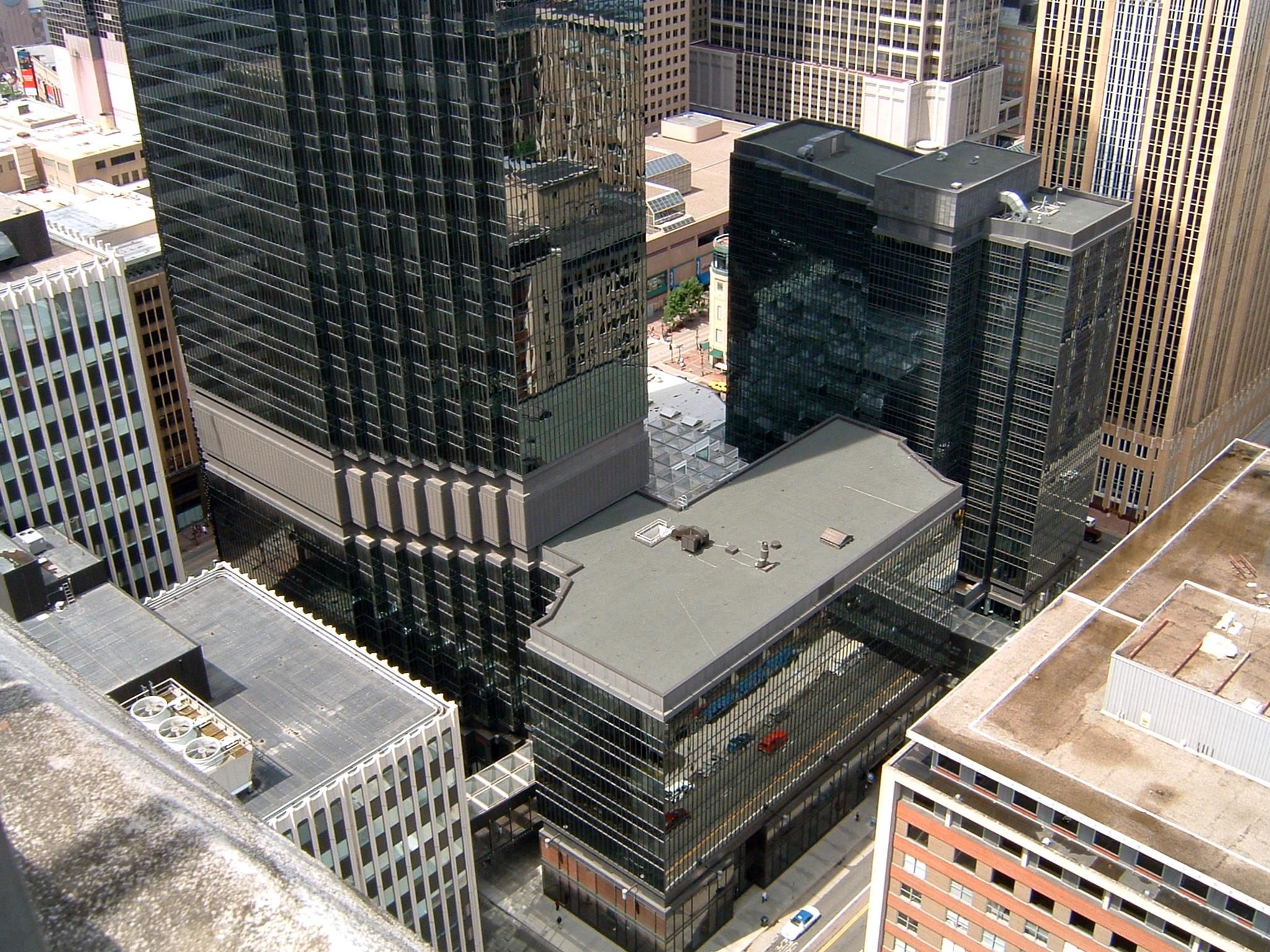 View of the IDS Center annex, skyway, and entrance.