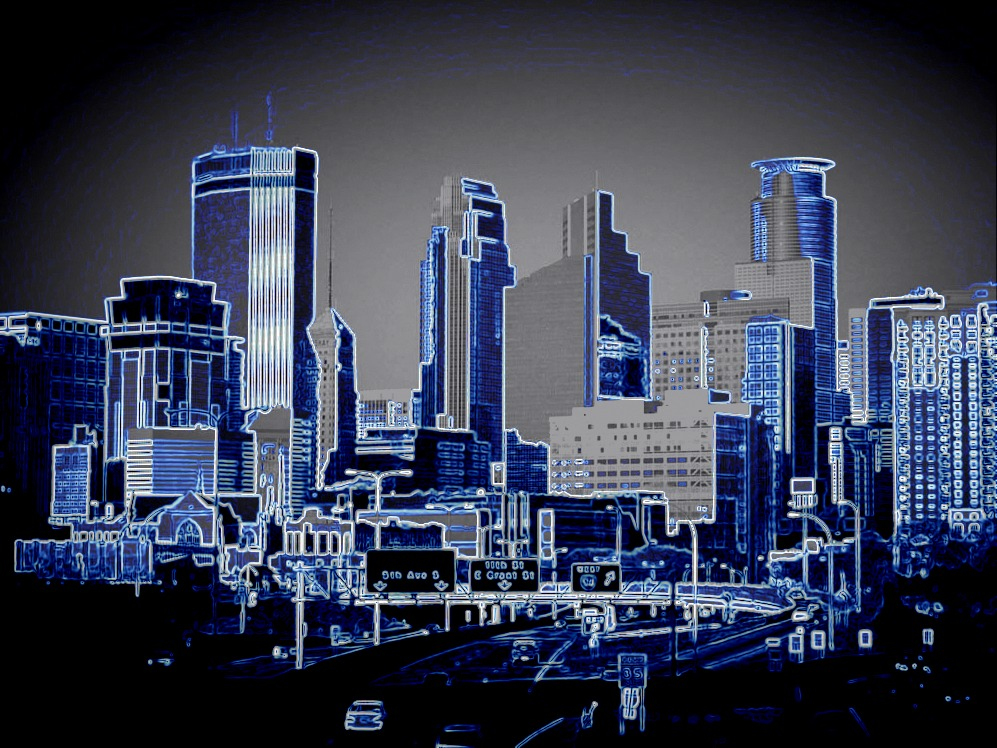 Minneapolis Skyline posterization to accent building structures, by Wild Blue River studios